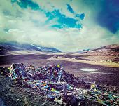 stock photo of manali-leh road  - Vintage retro effect filtered hipster style travel image of Buddhist prayer flags  - JPG