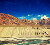 image of himachal pradesh  - Vintage retro effect filtered hipster style travel image of Himalayan landscape in Hiamalayas near Baralacha La pass with grunge texture overlaid - JPG