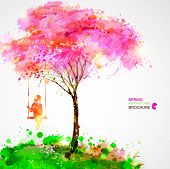 picture of swings  - Spring blossoming tree - JPG