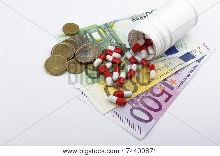 Pills And Money (Euros Eur) Medecine Concept