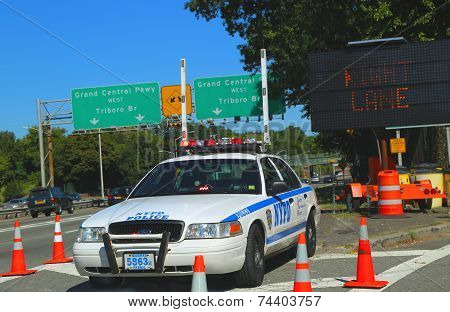 NYPD highway patrol car at Grand Central Parkway in Queens