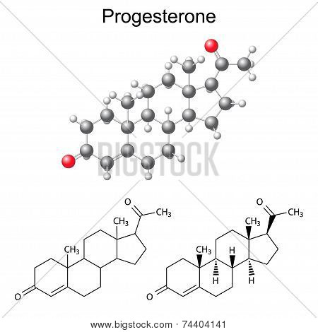 Structural Chemical Formulas And Model Of Progesterone Molecule