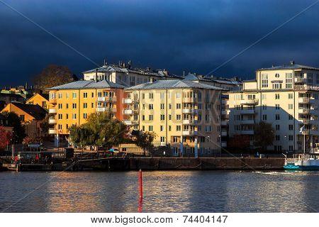 Autumn rain storm over Stockholm, Sweden