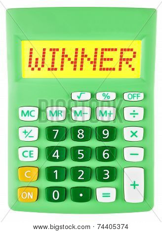 Calculator With Winner On Display On White