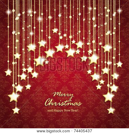 Golden Christmas Stars Curtain