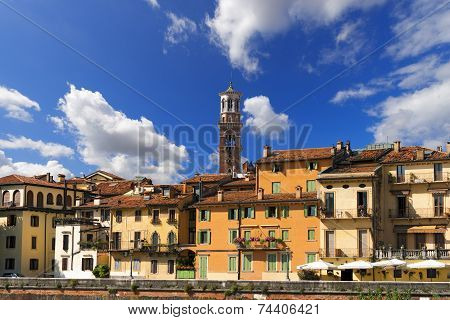Houses And Lamberti Tower - Verona Italy