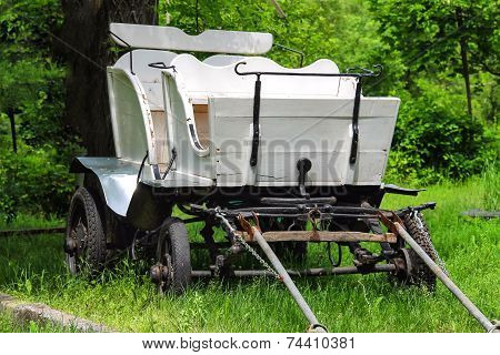 Wagon In The Yard Of The Rural House In Ukraine