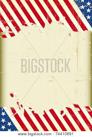 Dirty American flag super background. A grunge American background with a large empty frame for your event