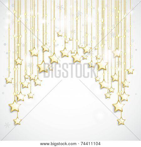 White Golden Stars Curtain Snowfall