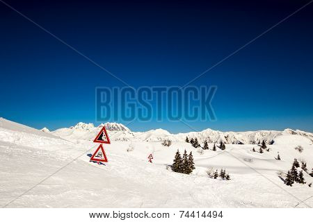 Road Signal Buried By The Snow