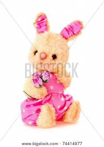 Rabbit Bunny Toy With Flowers Isolated In Hand