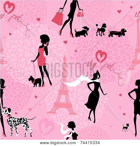 Seamless Pattern With Black Silhouettes Of Fashionable Girls With Their Pets - Dogs (dalmatian, Dach