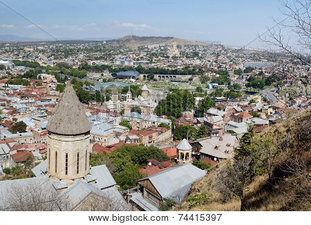 Old Tbilisi Panorama With Top Of Saint Bethlehem Church On Foreground, View From Narikala Fortress