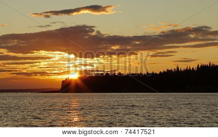 Sunset at seal cove in Acadia national park on mount desert island, Maine