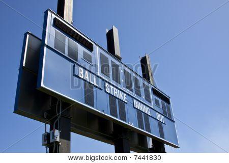 Baseball scoreboard.