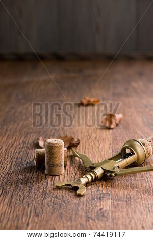 Old Corkscrew On Wooden Table