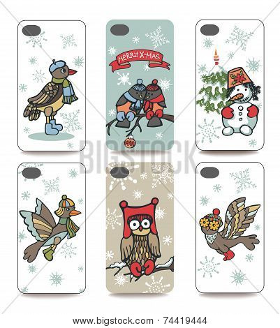 Christmas.Mobile phone cover  back set.Winter bird,snowman