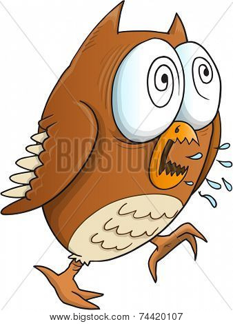 Insane Crazy Owl Vector Illustration Art