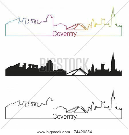 Coventry Skyline Linear Style With Rainbow