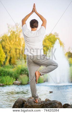 Yoga man doing tree pose