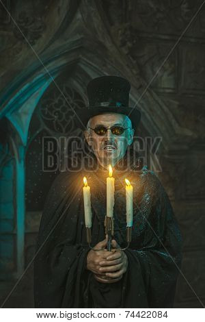 Warlock Male With A Candelabra In Hand.