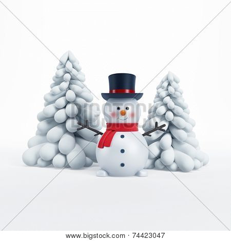 happy snowman with fir-tree, 3d rendering
