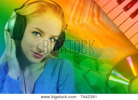 Woman Listening to Music with Abstract Background