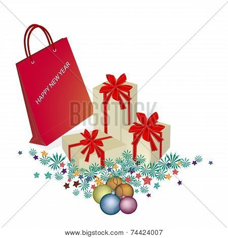 Red Paper Shopping Bag with Gift Boxes