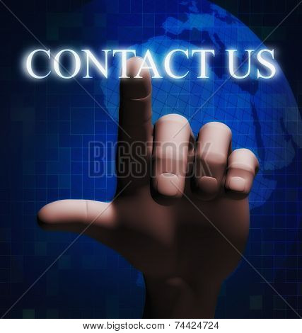 3D Finger Touching Contact Us Illustration