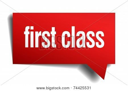 First Class Red 3D Realistic Paper Speech Bubble