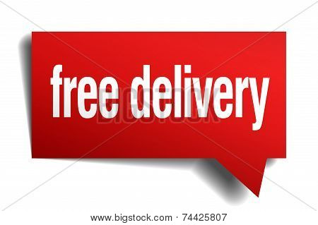 Free Delivery Red 3D Realistic Paper Speech Bubble