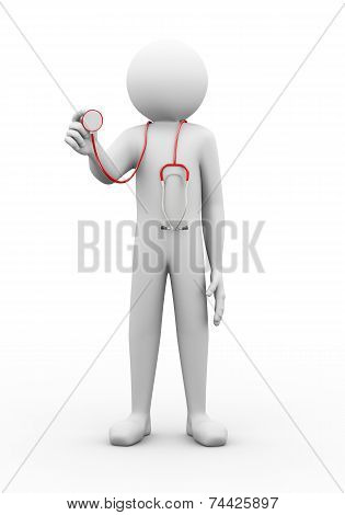 3D Man Doctor With Stethoscope Illustration