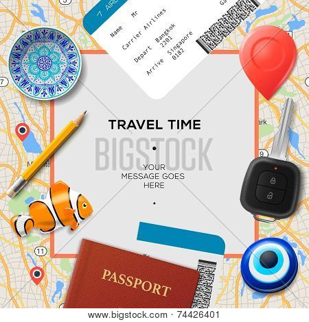 Travel time template. International passport, boarding pass, tickets with barcode, magnets and key