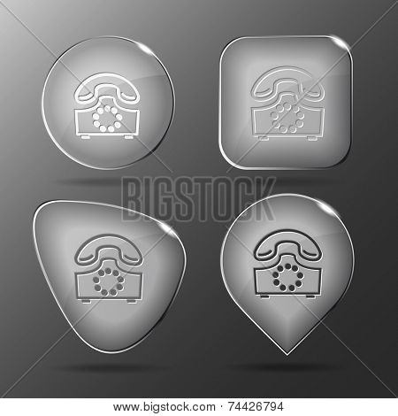 Old phone. Glass buttons. Vector illustration.