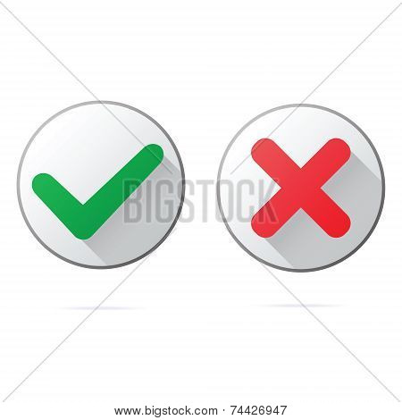 Set of ok and cancel plastic buttons  icons, glossy and modern design for websites  or applications