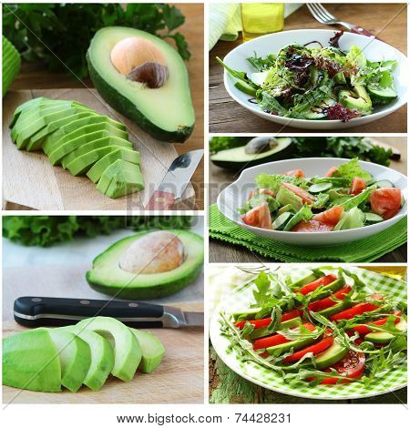 Set salads with fresh avocado and fruit sliced ??on the board