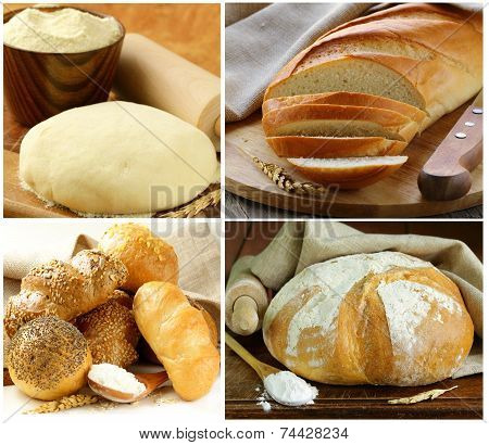 Set assortment of bread, rye and white