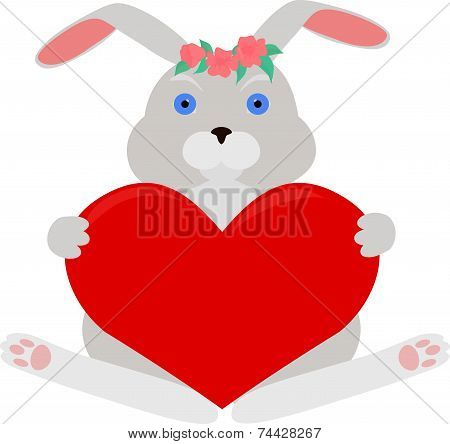 gray rabbit with red heart