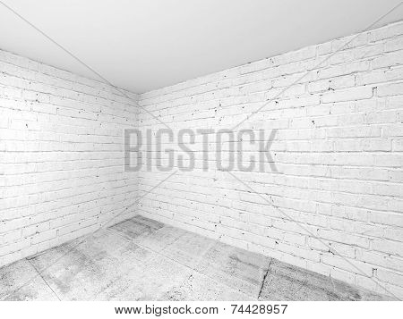 Empty White 3D Room Interior, Corner With Brick Walls