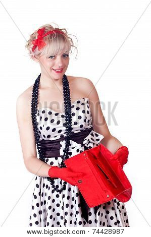Lovely Girl With An Empty Handbag