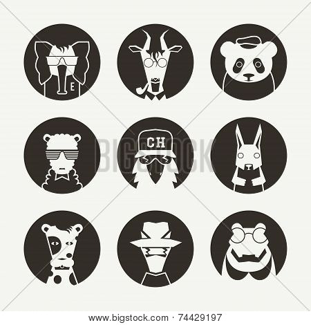 Set Of Stylized Animal Avatar For Social Network
