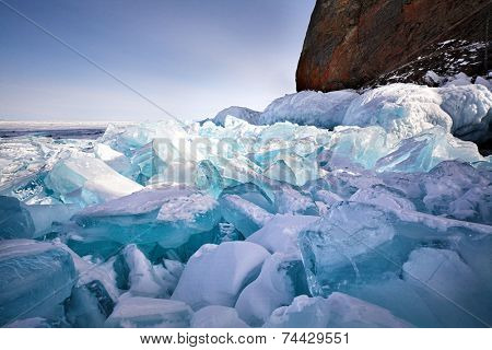 ice hummock at frozen baikal lake in winter