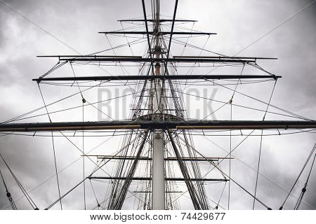 Maritime Naval Rigging of an old merchant clipper, with the spars, mast and pulleys