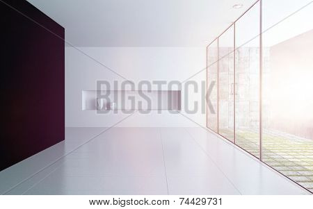 3D Rendering of Modern empty white room interior with alcove