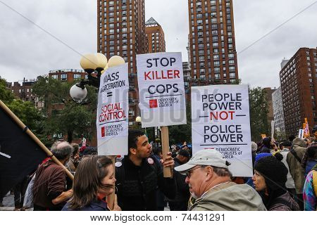 Stop Killer Cops signs in Union Square
