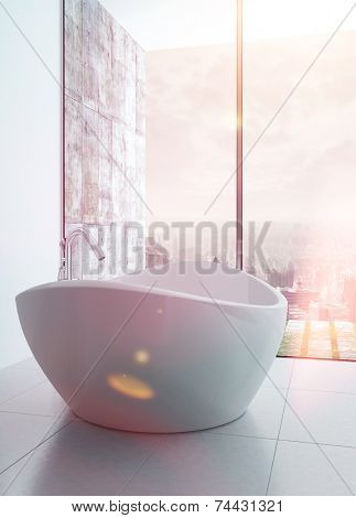 3D Rendering of Freestanding bathtub in a modern white luxury bathroom interior with sunflare effect