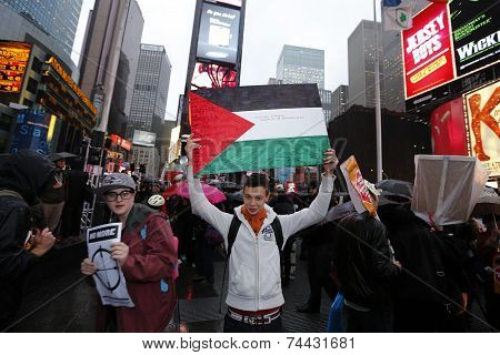 Marcher with Palestinian Flag