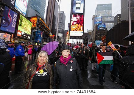 Marchers in Times Square