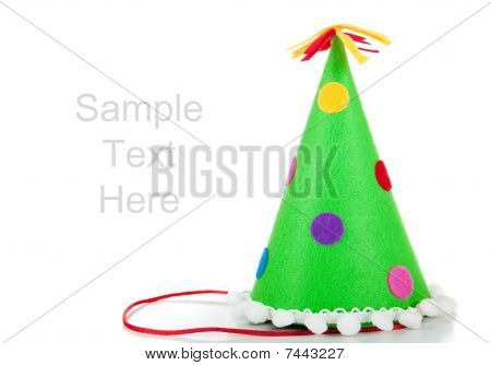 Polka-dot Birthday Hats On A White Background With Copy Space
