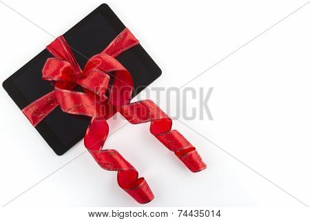 Tablet Pc with Christmas Ribbon